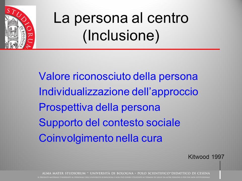 La persona al centro (Inclusione) Valore riconosciuto della persona Individualizzazione dell'approccio Prospettiva della persona Supporto del contesto sociale Coinvolgimento nella cura Kitwood 1997
