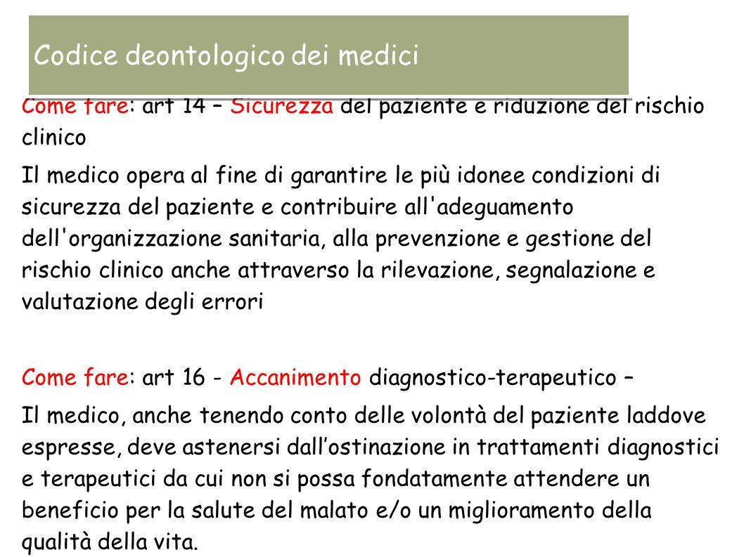 Come fare: art 14 – Sicurezza del paziente e riduzione del rischio clinico Il medico opera al fine di garantire le più idonee condizioni di sicurezza