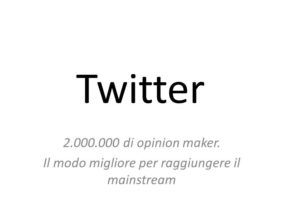 Twitter 2.000.000 di opinion maker. Il modo migliore per raggiungere il mainstream