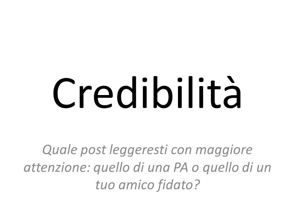 Credibilità Quale post leggeresti con maggiore attenzione: quello di una PA o quello di un tuo amico fidato?