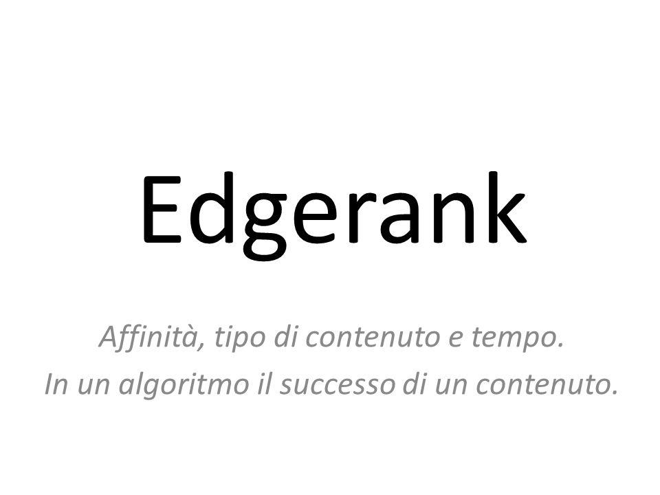 Edgerank Affinità, tipo di contenuto e tempo. In un algoritmo il successo di un contenuto.