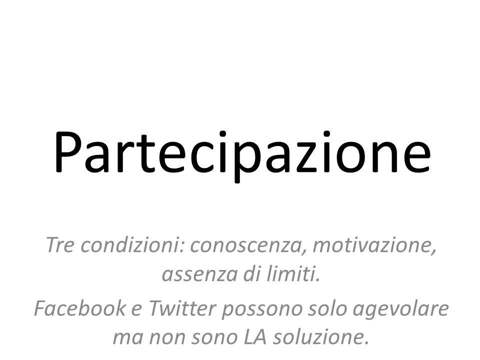 Partecipazione Tre condizioni: conoscenza, motivazione, assenza di limiti.