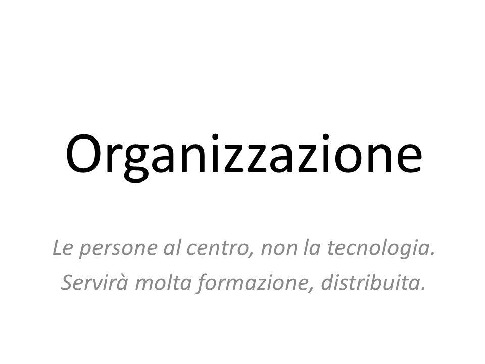 Organizzazione Le persone al centro, non la tecnologia. Servirà molta formazione, distribuita.