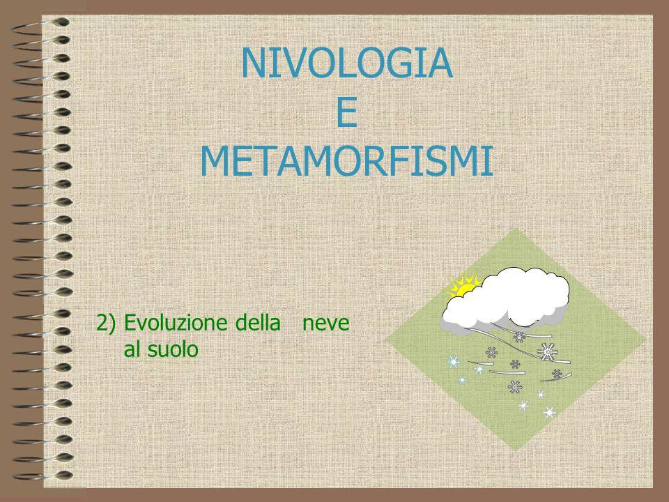 NIVOLOGIA E METAMORFISMI 2) Evoluzione della neve al suolo