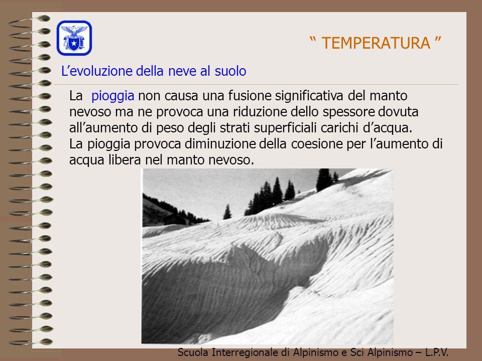 Scuola Interregionale di Alpinismo e Sci Alpinismo – L.P.V. La pioggia non causa una fusione significativa del manto nevoso ma ne provoca una riduzion