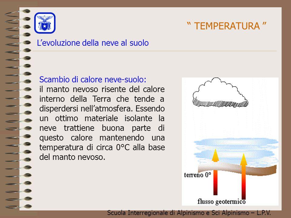 Scuola Interregionale di Alpinismo e Sci Alpinismo – L.P.V. Scambio di calore neve-suolo: il manto nevoso risente del calore interno della Terra che t