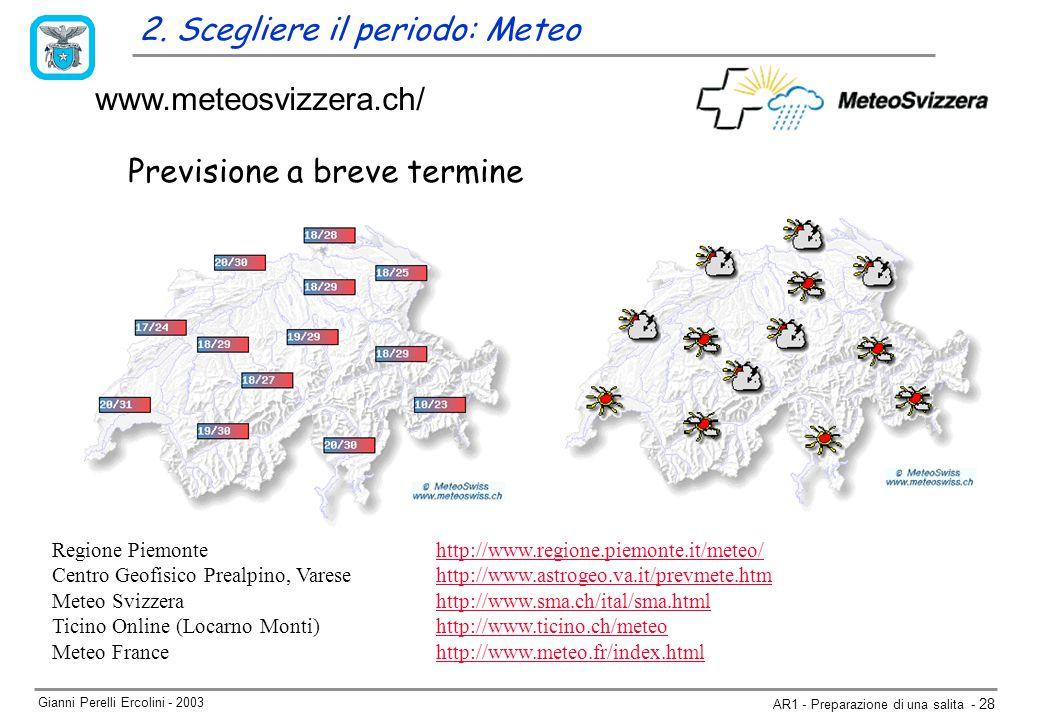 Gianni Perelli Ercolini - 2003 AR1 - Preparazione di una salita - 28 Previsione a breve termine www.meteosvizzera.ch/ Regione Piemontehttp://www.regione.piemonte.it/meteo/ Centro Geofisico Prealpino, Varesehttp://www.astrogeo.va.it/prevmete.htm Meteo Svizzerahttp://www.sma.ch/ital/sma.htmlhttp://www.sma.ch/ital/sma.html Ticino Online (Locarno Monti)http://www.ticino.ch/meteohttp://www.ticino.ch/meteo Meteo Francehttp://www.meteo.fr/index.html 2.