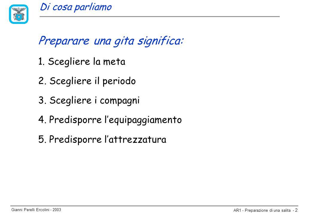 Gianni Perelli Ercolini - 2003 AR1 - Preparazione di una salita - 2 Preparare una gita significa: 1.