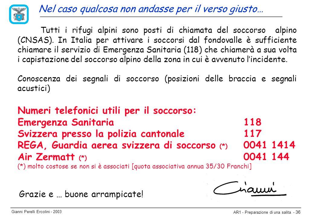 Gianni Perelli Ercolini - 2003 AR1 - Preparazione di una salita - 36 Nel caso qualcosa non andasse per il verso giusto… Grazie e … buone arrampicate.