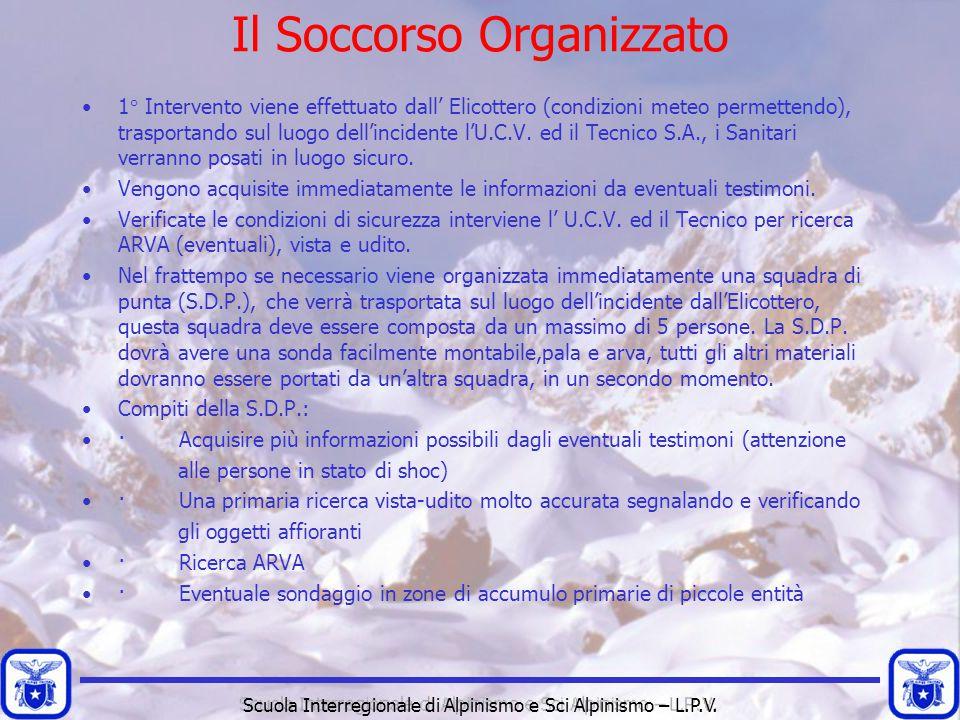 Scuola Interregionale di Alpinismo e Sci Alpinismo – L.P.V. Il Soccorso Organizzato 1° Intervento viene effettuato dall' Elicottero (condizioni meteo