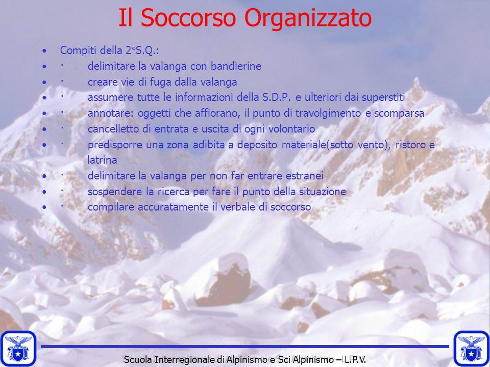 Scuola Interregionale di Alpinismo e Sci Alpinismo – L.P.V. Compiti della 2°S.Q.: · delimitare la valanga con bandierine · creare vie di fuga dalla va
