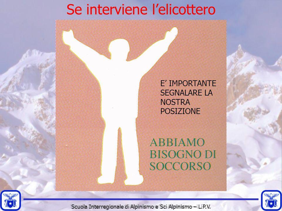 Scuola Interregionale di Alpinismo e Sci Alpinismo – L.P.V. E' IMPORTANTE SEGNALARE LA NOSTRA POSIZIONE Se interviene l'elicottero