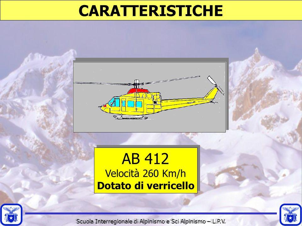 Scuola Interregionale di Alpinismo e Sci Alpinismo – L.P.V. CARATTERISTICHE AB 412 Velocità 260 Km/h Dotato di verricello AB 412 Velocità 260 Km/h Dot