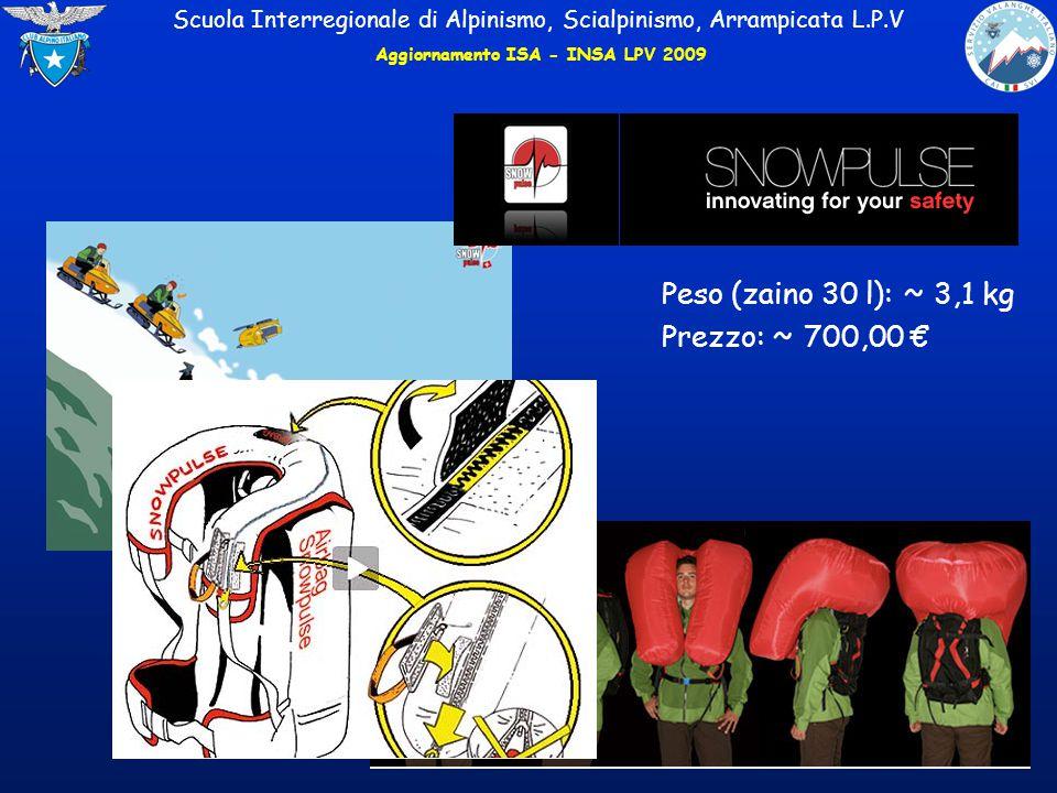Scuola Interregionale di Alpinismo, Scialpinismo, Arrampicata L.P.V Peso (zaino 30 l): ~ 3,1 kg Prezzo: ~ 700,00 € Aggiornamento ISA - INSA LPV 2009
