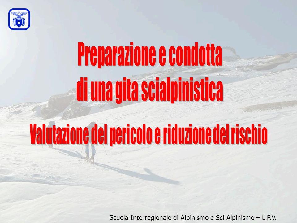 STANCHEZZA PERDITA DI CONCENTRAZIONE ECCESSIVO ENTUSIASMO + + + + CONDIZIONI (sole, neve bellissima) = = DIMINUZIONE DELLA CAPACITA' DI VALUTAZIONE = Scuola Interregionale di Alpinismo e Sci Alpinismo – L.P.V.
