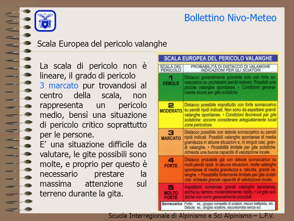 Scuola Interregionale di Alpinismo e Sci Alpinismo – L.P.V. Il bollettino Nivologico Distinzione tra pericolo e rischio
