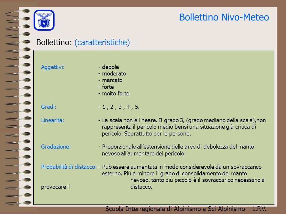 Scuola Interregionale di Alpinismo e Sci Alpinismo – L.P.V. Bollettino Nivo-Meteo Scala Europea del pericolo valanghe La scala di pericolo non è linea