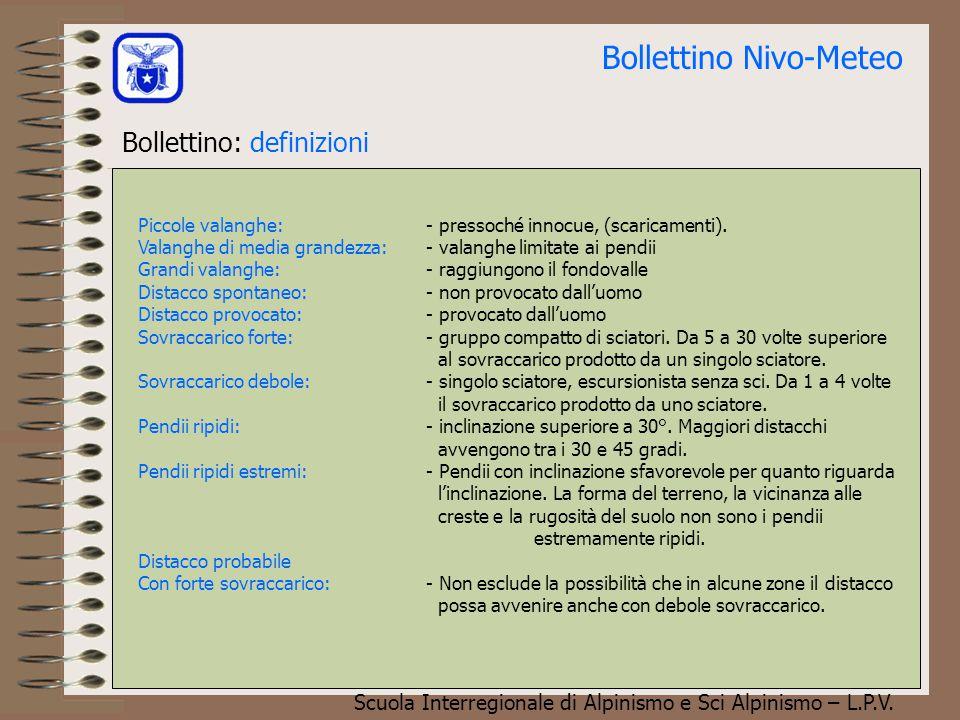 Scuola Interregionale di Alpinismo e Sci Alpinismo – L.P.V. Bollettino Nivo-Meteo Bollettino: (caratteristiche) Aggettivi:- debole - moderato - marcat