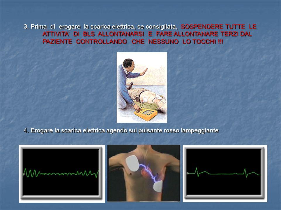 2. Attendere qualche secondo in modo che l'apparecchio inizi l'analisi del tracciato ECG del paziente o che rilevi qualche anomalia di collegamento o