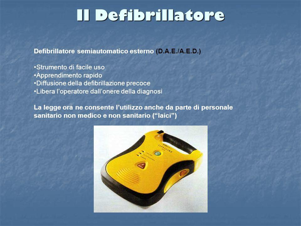 Il Defibrillatore Defibrillatore semiautomatico esterno (D.A.E./A.E.D.) Strumento di facile uso Apprendimento rapido Diffusione della defibrillazione precoce Libera l'operatore dall'onere della diagnosi La legge ora ne consente l'utilizzo anche da parte di personale sanitario non medico e non sanitario ( laici )