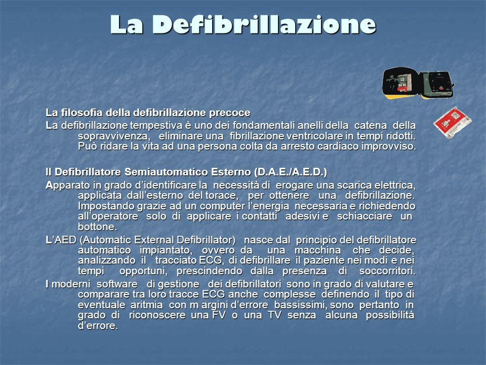 Il Defibrillatore Defibrillatore semiautomatico esterno (D.A.E./A.E.D.) Strumento di facile uso Apprendimento rapido Diffusione della defibrillazione