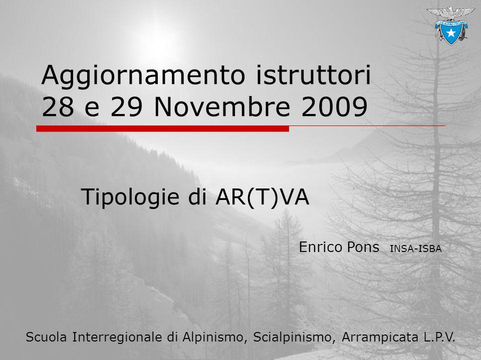 Aggiornamento istruttori 28 e 29 Novembre 2009 Tipologie di AR(T)VA Enrico Pons INSA-ISBA Scuola Interregionale di Alpinismo, Scialpinismo, Arrampicat