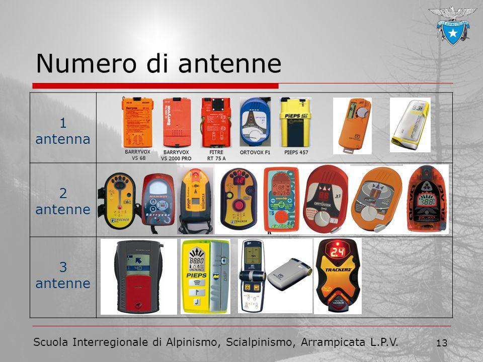 Scuola Interregionale di Alpinismo, Scialpinismo, Arrampicata L.P.V. 13 Numero di antenne 1 antenna 2 antenne 3 antenne