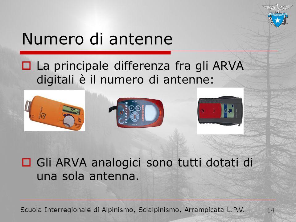 Scuola Interregionale di Alpinismo, Scialpinismo, Arrampicata L.P.V. 14 Numero di antenne  La principale differenza fra gli ARVA digitali è il numero