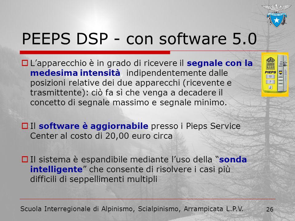 Scuola Interregionale di Alpinismo, Scialpinismo, Arrampicata L.P.V. 26 PEEPS DSP - con software 5.0  L'apparecchio è in grado di ricevere il segnale