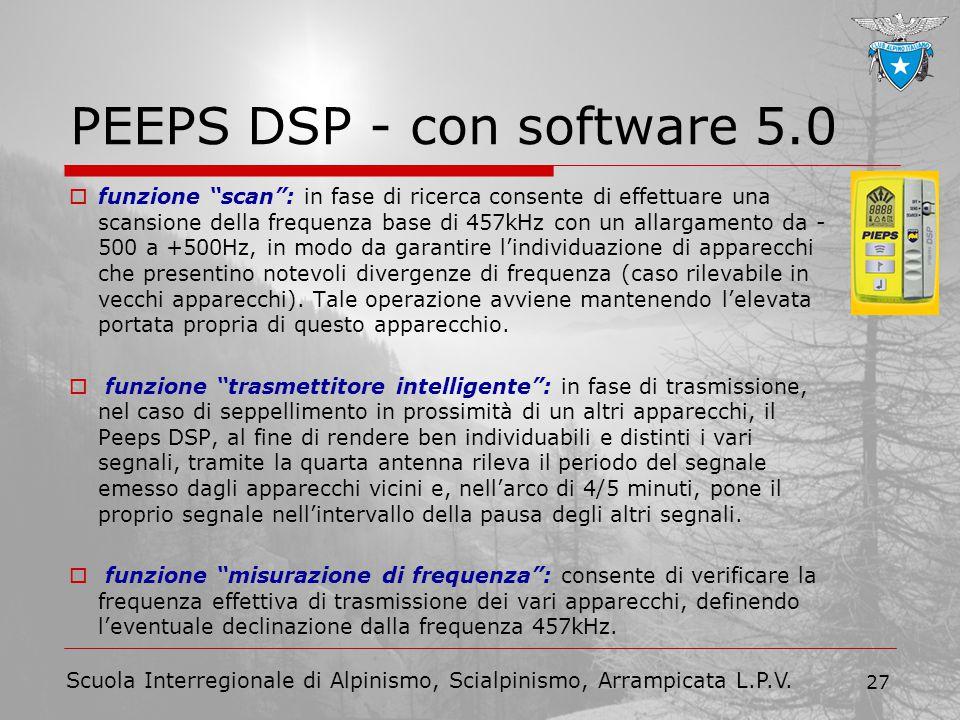 """Scuola Interregionale di Alpinismo, Scialpinismo, Arrampicata L.P.V. 27 PEEPS DSP - con software 5.0  funzione """"scan"""": in fase di ricerca consente di"""