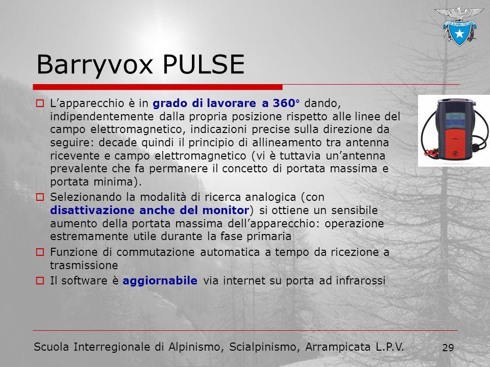 Scuola Interregionale di Alpinismo, Scialpinismo, Arrampicata L.P.V. 29 Barryvox PULSE  L'apparecchio è in grado di lavorare a 360° dando, indipenden
