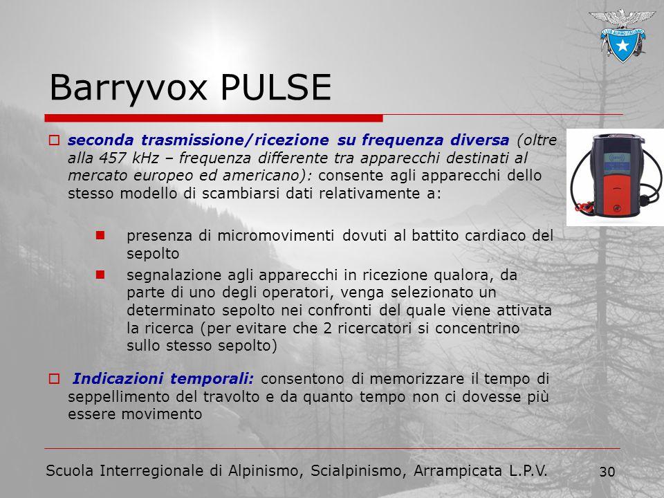 Scuola Interregionale di Alpinismo, Scialpinismo, Arrampicata L.P.V. 30 Barryvox PULSE  seconda trasmissione/ricezione su frequenza diversa (oltre al