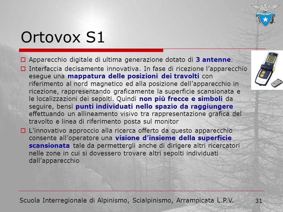 Scuola Interregionale di Alpinismo, Scialpinismo, Arrampicata L.P.V. 31 Ortovox S1  Apparecchio digitale di ultima generazione dotato di 3 antenne. 