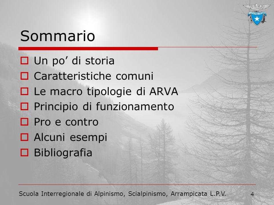Scuola Interregionale di Alpinismo, Scialpinismo, Arrampicata L.P.V. 4 Sommario  Un po' di storia  Caratteristiche comuni  Le macro tipologie di AR