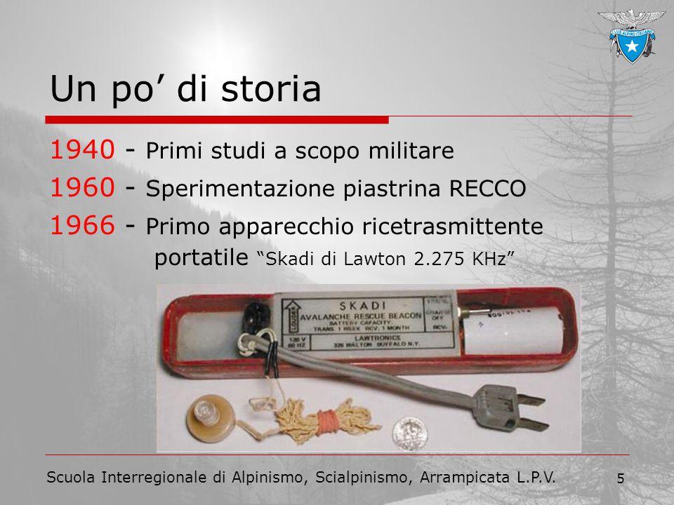 Scuola Interregionale di Alpinismo, Scialpinismo, Arrampicata L.P.V. 5 Un po' di storia 1940 - Primi studi a scopo militare 1960 - Sperimentazione pia