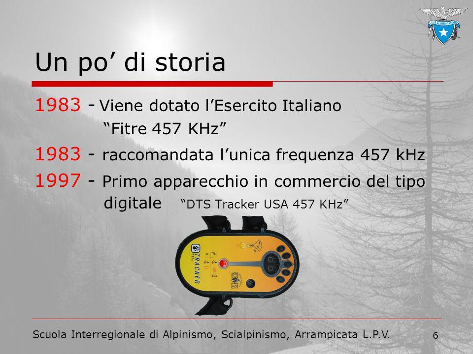 """Scuola Interregionale di Alpinismo, Scialpinismo, Arrampicata L.P.V. 6 Un po' di storia 1983 - Viene dotato l'Esercito Italiano """"Fitre 457 KHz"""" 1983 -"""