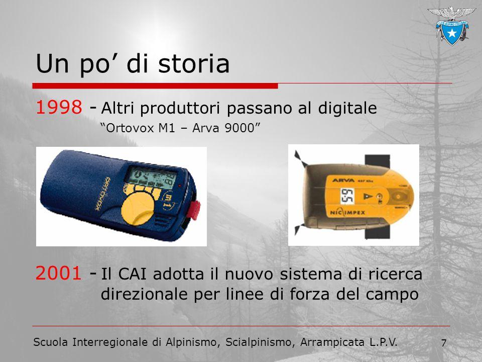 """Scuola Interregionale di Alpinismo, Scialpinismo, Arrampicata L.P.V. 7 Un po' di storia 1998 - Altri produttori passano al digitale """"Ortovox M1 – Arva"""