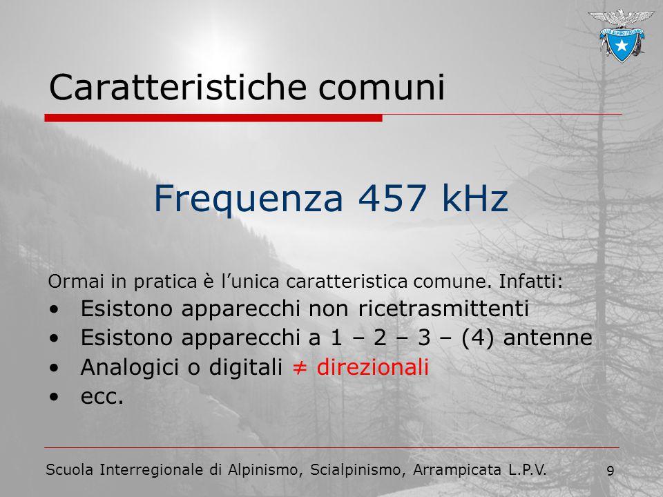 Scuola Interregionale di Alpinismo, Scialpinismo, Arrampicata L.P.V. 9 Caratteristiche comuni Frequenza 457 kHz Ormai in pratica è l'unica caratterist