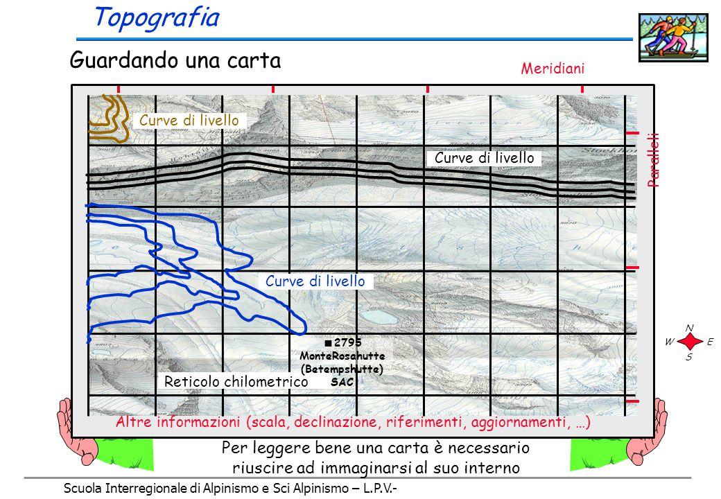 Scuola Interregionale di Alpinismo e Sci Alpinismo – L.P.V.- Le Carte topografiche sono sempre realizzate in modo da presentare il Nord (settentrione, mezzanotte) sul loro bordo superiore, in alto per chi sta guardando la carta stessa, di conseguenza a destra troveremo l'Est (oriente, levante), in basso il Sud (meridione, mezzogiorno) e a sinistra l'Ovest (occidente, ponente) N S EO Topografia