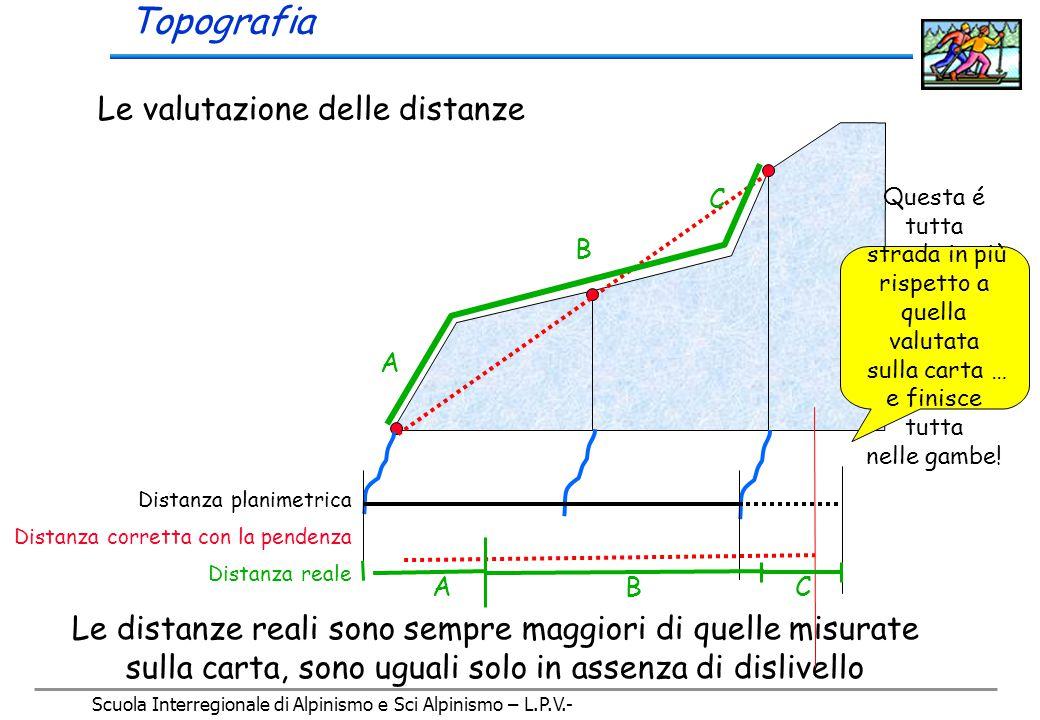 Scuola Interregionale di Alpinismo e Sci Alpinismo – L.P.V.- Topografia 20 m La pendenza valutata sulla carta può essere molto diversa da quella reale dei singoli tratti, dalla carta si ricava solo la pendenza media 4 mm = 45° Curve di livello e pendenze