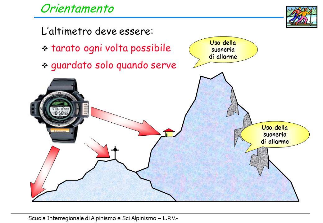 Scuola Interregionale di Alpinismo e Sci Alpinismo – L.P.V.- Orientamento L'altimetro Strumento che misura l'altezza rispetto al livello del mare, attraverso una misura della pressione atmosferica (è un barometro).