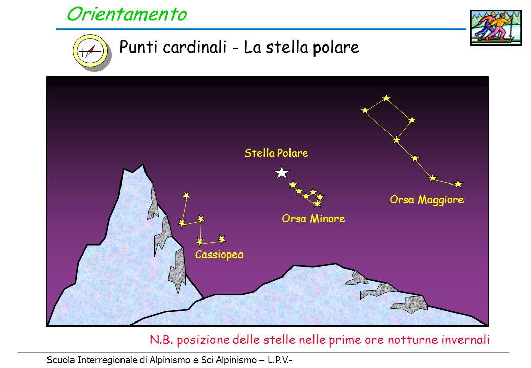 Scuola Interregionale di Alpinismo e Sci Alpinismo – L.P.V.- Orientamento Uso della bussola Punti cardinali (da ricordare a memoria) N S EO N-E S-E S-O N-O Italiano N S E W N-E S-ES-W N-W Internazionale