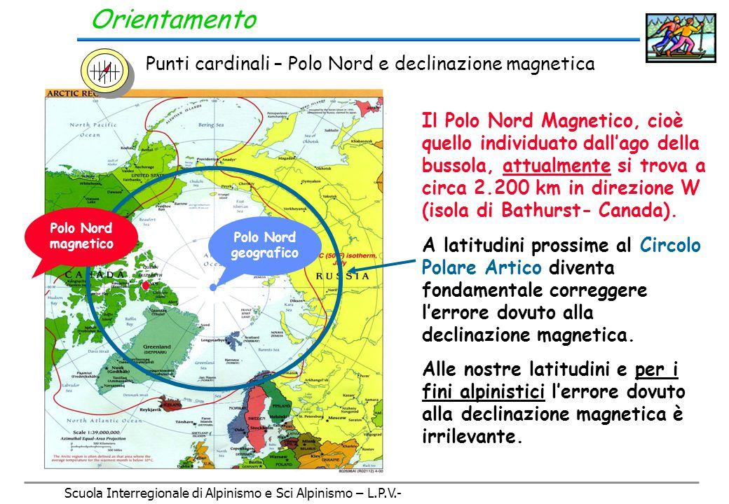 Scuola Interregionale di Alpinismo e Sci Alpinismo – L.P.V.- Orientamento Punti cardinali - La stella polare Stella Polare Cassiopea Orsa Maggiore Orsa Minore N.B.