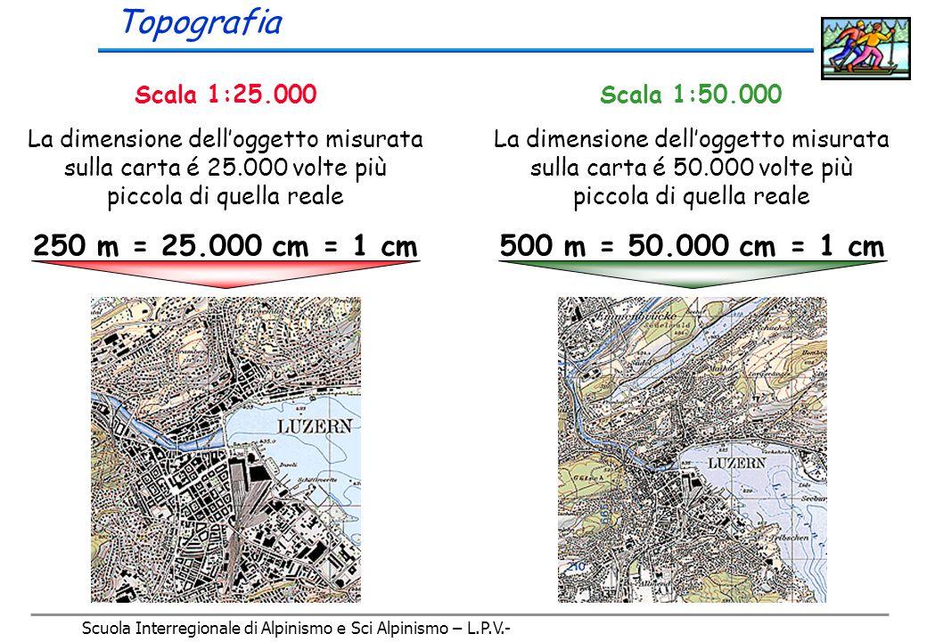 Scuola Interregionale di Alpinismo e Sci Alpinismo – L.P.V.- Le pendenze possono essere espresse in percentuale o, come é prassi nell'alpinismo, in gradi (inclinazione)    B H B H B H HBHB x 100 = 50 % HBHB x 100 = 100 % HBHB x 100 = 200 % Angolo  = 27°Angolo  = 45°Angolo  = 63° H = B/2 H = BH = 2B Topografia