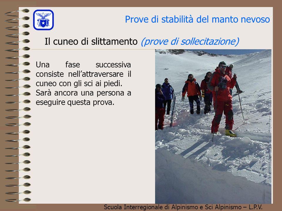Scuola Interregionale di Alpinismo e Sci Alpinismo – L.P.V. Prove di stabilità del manto nevoso Il cuneo di slittamento (prove di sollecitazione) Una