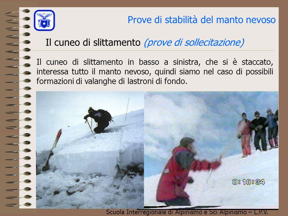 Scuola Interregionale di Alpinismo e Sci Alpinismo – L.P.V. Il cuneo di slittamento (prove di sollecitazione) Prove di stabilità del manto nevoso Il c