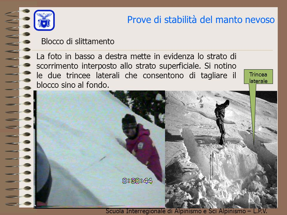 Scuola Interregionale di Alpinismo e Sci Alpinismo – L.P.V. La foto in basso a destra mette in evidenza lo strato di scorrimento interposto allo strat