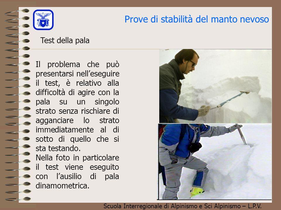 Scuola Interregionale di Alpinismo e Sci Alpinismo – L.P.V. Prove di stabilità del manto nevoso Test della pala Il problema che può presentarsi nell'e