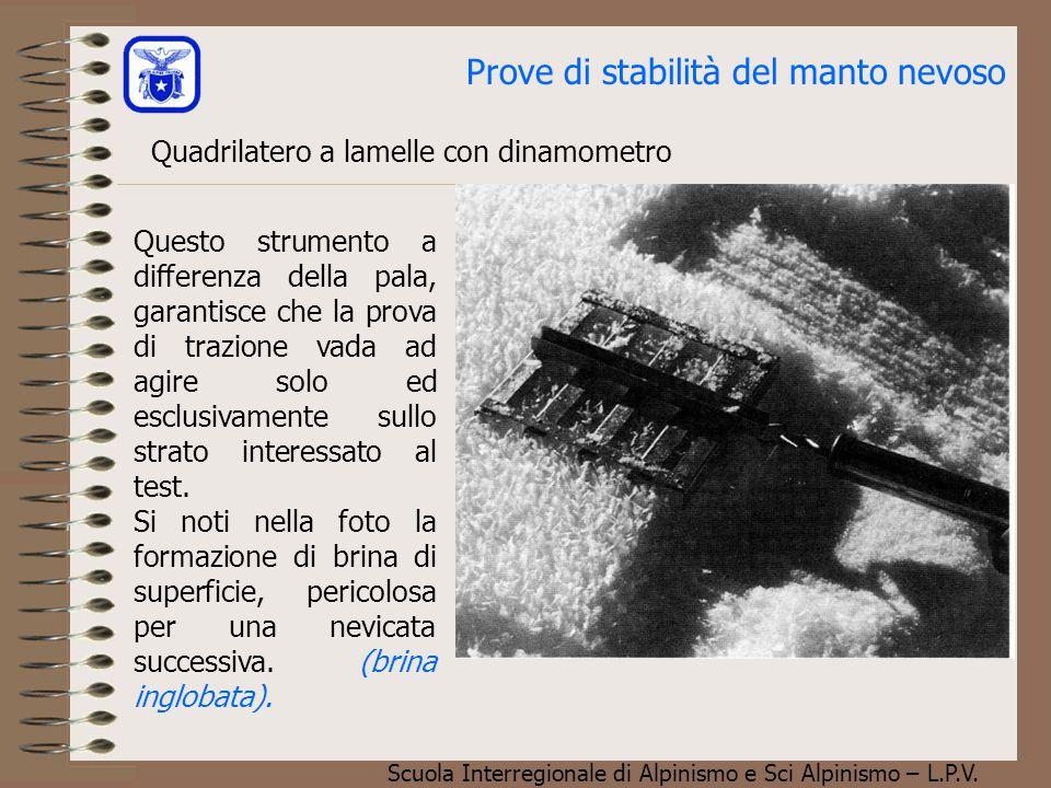 Scuola Interregionale di Alpinismo e Sci Alpinismo – L.P.V. Prove di stabilità del manto nevoso Quadrilatero a lamelle con dinamometro Questo strument