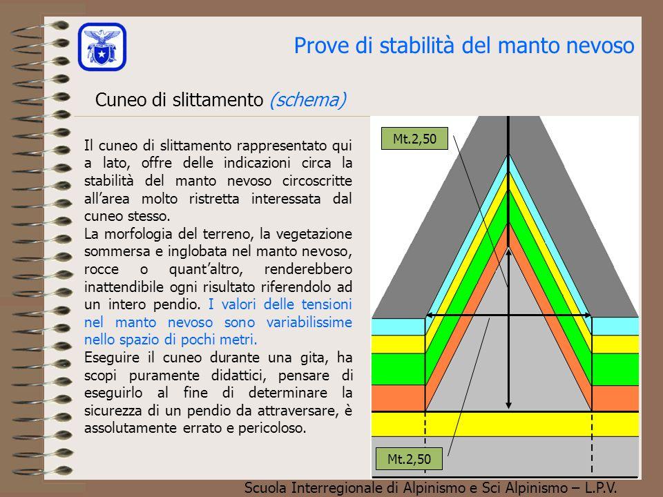 Scuola Interregionale di Alpinismo e Sci Alpinismo – L.P.V. Cuneo di slittamento (schema) Prove di stabilità del manto nevoso Mt.2,50 Il cuneo di slit